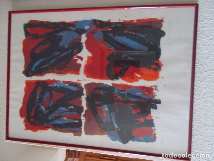 Arte: EXCELENTE LITOGRAFIA AUTOR DESCONOCIDO PIENSO NORDICO AÑOS 70 MEDIDAS 78/56 ENMARCADO - Foto 4 - 179081180