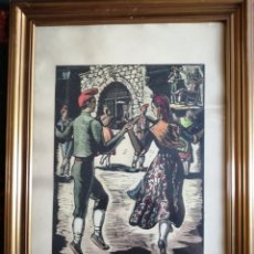 Arte: CASTELLS. LA SARDANA CATALANA. LITOGRAFÍA FIRMADA.. Lote 179087068