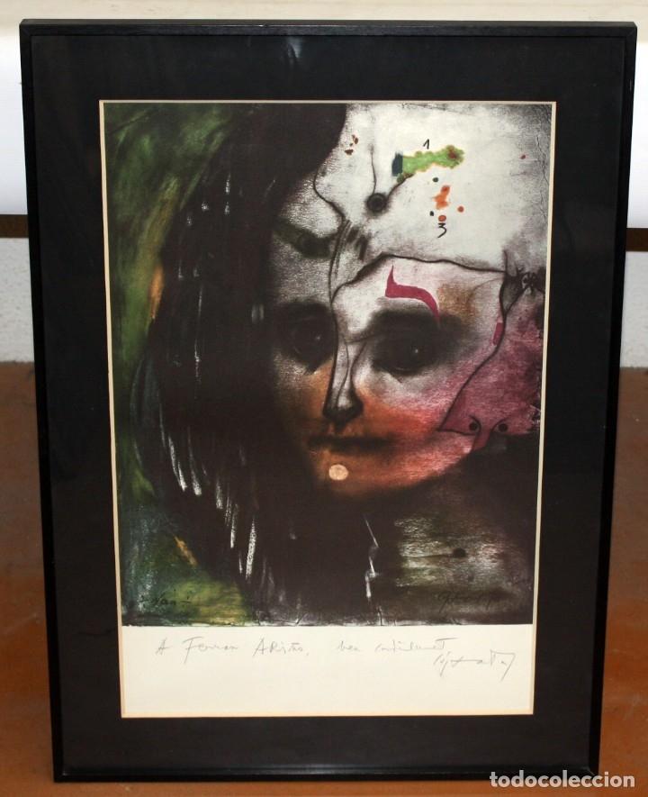 Arte: MODEST CUIXART TAPIES (1925 - 2007) LITOGRAFIA ORIGINAL FIRMADA Y DEDICADA A LÁPIZ - Foto 2 - 180186276