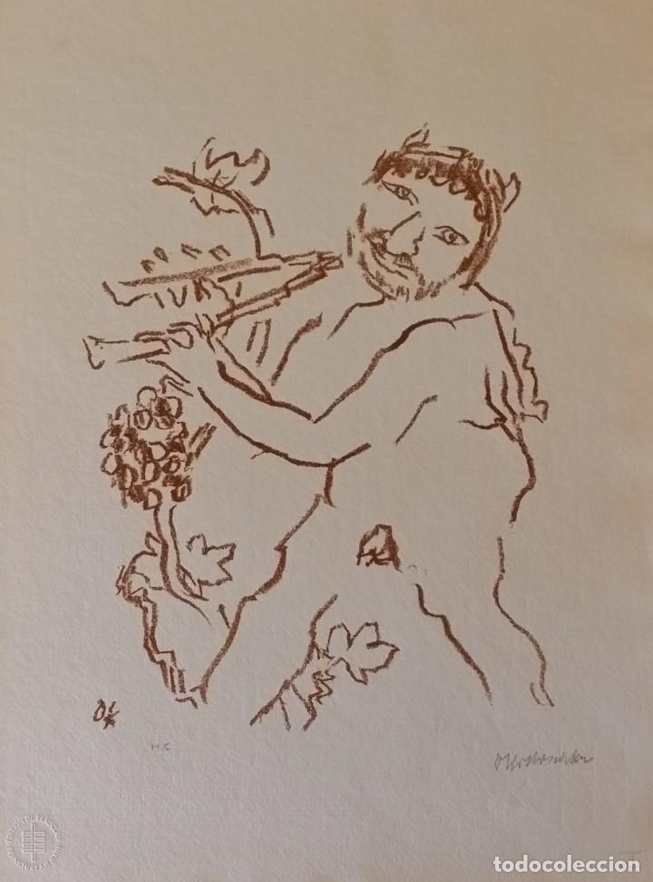 Arte: Oskar Kokoschka: Fauno, litografía firmada y justificada a lápiz. Sellos - Foto 2 - 180336083