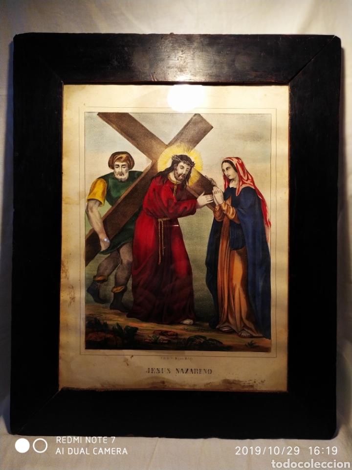 Arte: GRAN LITOGRAFÍA, SIGLO XIX, JESÚS NAZARENO, FBC DE FCO MITJANA, MALAGA - Foto 16 - 181487842