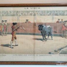 Arte: LITOGRAFÍA ENMARCADA REVISTA LA LIDIA. FINALES SIGLO XIX. CITE PARA UNA SUERTE DE BANDERILLAS. TOROS. Lote 181997862