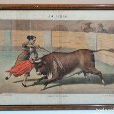 Arte: LITOGRAFÍA ENMARCADA REVISTA LA LIDIA. FINALES DEL SIGLO XIX. SUERTE DE VOLAPIE. TOROS. Lote 181999506