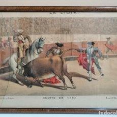 Arte: LITOGRAFÍA ENMARCADA REVISTA LA LIDIA. FINALES SIGLO XIX. SUERTE DE VARAS. TOROS. Lote 182002470