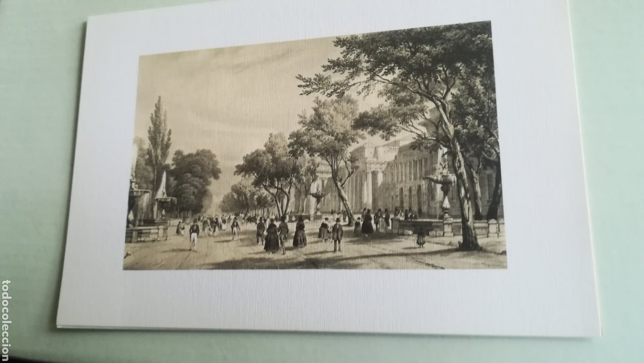 MADRID, VISTAS DEL PRADO Y MUSEO, LITOGRAFÍA DE PATRIMONIO NACIONAL (Arte - Litografías)