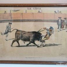 Arte: LITOGRAFÍA ENMARCADA REVISTA LA LIDIA. FINALES SIGLO XIX. COGIDA DE FERNANDO GÓMEZ GALLO. TOROS. Lote 182092595