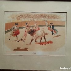 Arte: ANTIGUA DE CORRIDA DE TOROS,FINALES SIGLO XIX,,PEREA DANIEL ,LITOGRAFÍA MEDIDAS 44X37 CM VA A. Lote 182770918