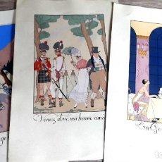 Arte: GEORGE BARBIER - 1921 - 3 LITOGRAFIAS . Lote 186086156
