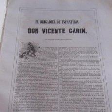 Arte: BIOGRAFÍA - BRIGADIER DE INFANTERÍA D. VICENTE GARIN - 1843. ESTADO MAYOR EJERCITO. Lote 187372648