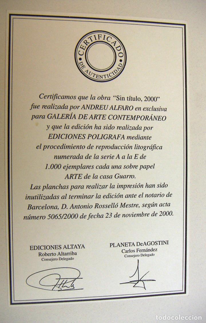 Arte: LITOGRAFIA DE ANDREU ALFARO SIN TITULO CON CERTIFICADO DE AUTENTICIDAD - Foto 4 - 187402258