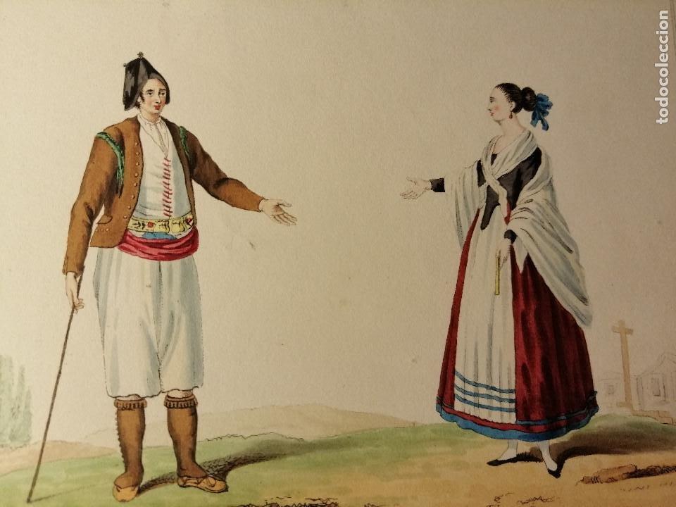 Arte: Peasant and woman of la Mancha/ Campesino y mujer de la Mancha. Litografia iluminada Ca. 1810 - Foto 4 - 187469105