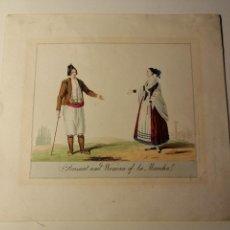 Arte: PEASANT AND WOMAN OF LA MANCHA/ CAMPESINO Y MUJER DE LA MANCHA. LITOGRAFIA ILUMINADA CA. 1810. Lote 187469105