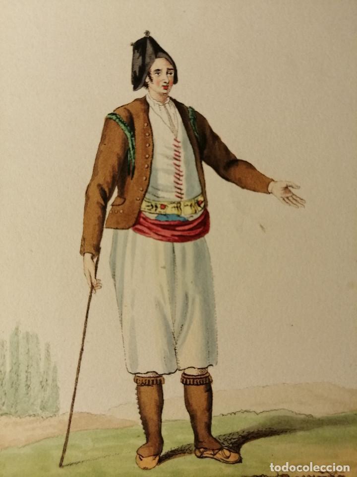 Arte: Peasant and woman of la Mancha/ Campesino y mujer de la Mancha. Litografia iluminada Ca. 1810 - Foto 2 - 187469105