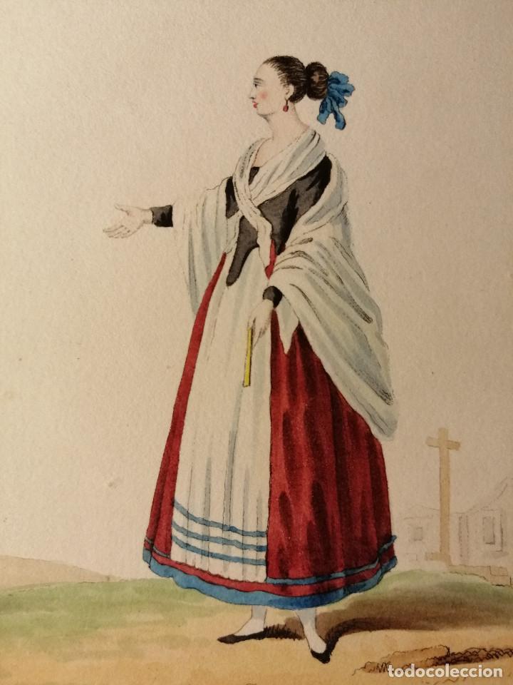 Arte: Peasant and woman of la Mancha/ Campesino y mujer de la Mancha. Litografia iluminada Ca. 1810 - Foto 3 - 187469105