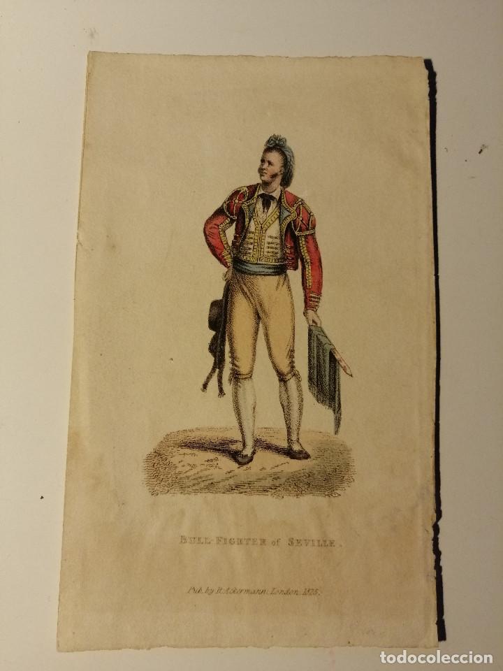BULL-FIGTER OF SEVILLE –TORERO DE SEVILLA. R. ACKERMAN LONDON 1825.LITOGRAFIA ILUMINADA. 14X9 CM (Arte - Litografías)