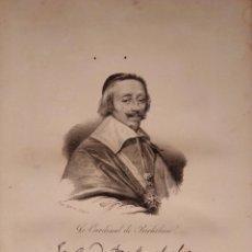 Arte: RICHELIEU. LITOGRAFÍA SIGLO XIX. RETRATO. HISTORIA DE FRANCIA. CARDENAL. LUIS XIII. Lote 187563792