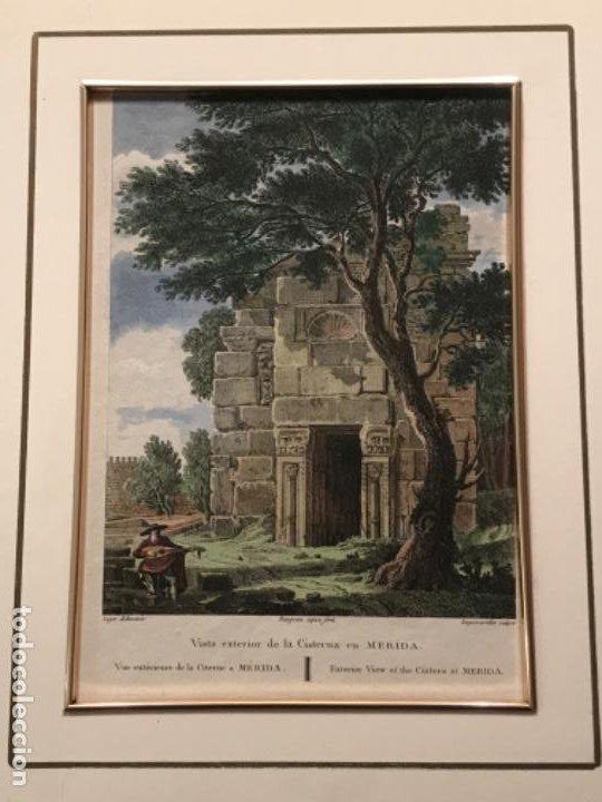 LITOGRAFÍA COLOREADA DE MERIDA VISTA EXTERIOR DE LA CISTERNA. FINALES DEL S.XIX. (Arte - Litografías)