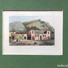 Arte: LITOGRAFÍA COLOREADA DE LAS RUINAS DEL PALACIO DE COMTES GOMERA GARACHICO CANARIAS . Lote 189569368