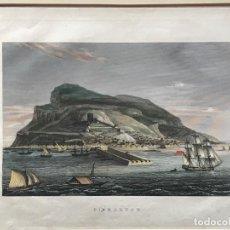 Arte: LITOGRAFÍA COLOREADA DEL PEÑOL DE GIBRALTAR 1850'S. . Lote 189569760