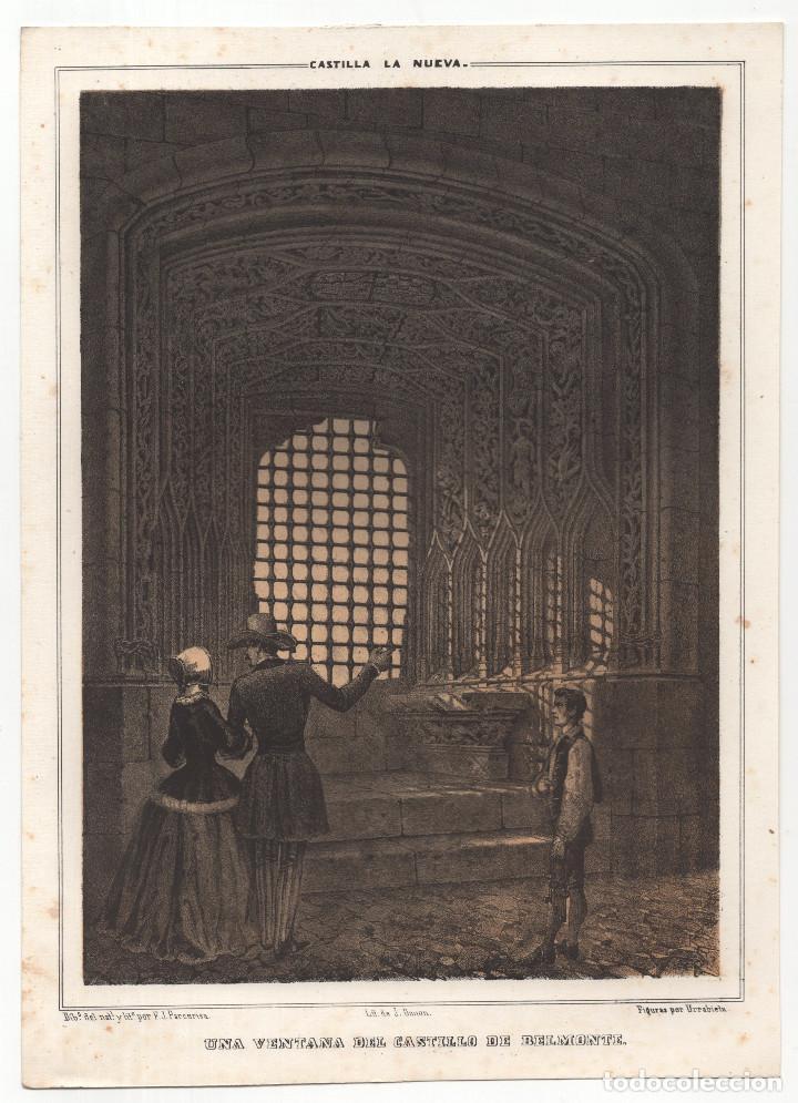 CUENCA.- LITOGRAFÍA UNA VENTANA DEL CASTILLO DE BELMONTE. LIT. DE J. DONON, MADRID. 18X24,5. (Arte - Litografías)