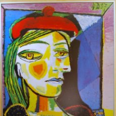 Arte: PABLO RUIZ PICASSO TITULO: MUJER CON BOINA ROJA - LITOGRAFIA OFFSET GRAN FORMATO. Lote 190285297