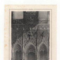 Arte: BARCELONA.- LITOGRAFÍA CASA DE LA DIPUTACIÓN. CAPILLA SAN JORGE Y CORNISA C.OBISPO. 16X23.. Lote 190330562