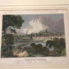 Arte: LITOGRAFÍA COLOREADA DE VIENA DESDE EL LADO NORTE DEL DANUBIO. MEDIADOS DEL S.XIX. . Lote 190405998