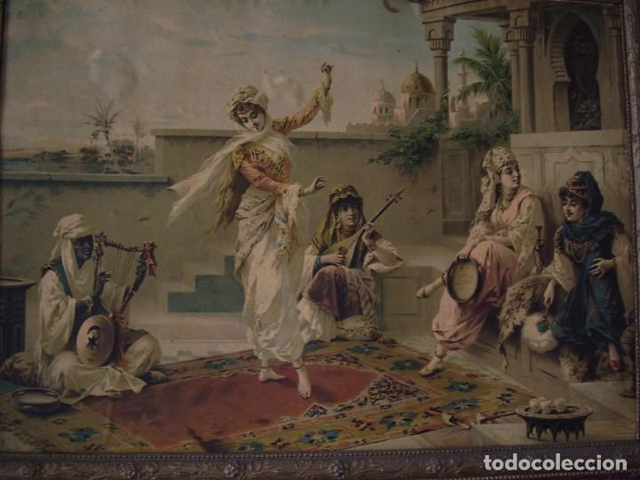 CUADRO DE LUIGI CROSIO (1898).ESCUELA EUROPEA.ESCENA MORISCA.LA DANZA. (Arte - Litografías)
