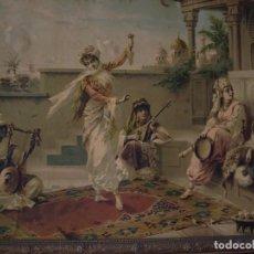 Arte: CUADRO DE LUIGI CROSIO (1898).ESCUELA EUROPEA.ESCENA MORISCA.LA DANZA.. Lote 191210318