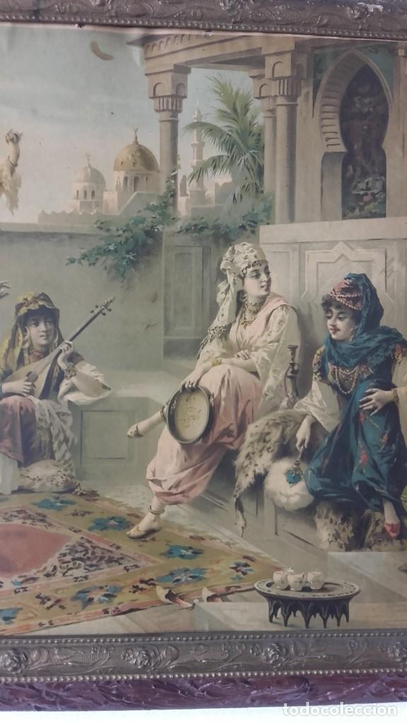 Arte: Cuadro de Luigi Crosio (1898).Escuela Europea.Escena morisca.La Danza. - Foto 5 - 191210318