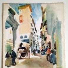 Art: 1926 MORELLA CASTELLON - LA CALLE DEL MERCADO - ACUARELA - VERNON HOWE BAILEY. Lote 191409910