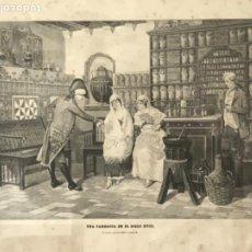 Arte: UNA FARMACIA EN EL SIGLO S.XVIII LITOGRAFÍA DE FINALES DEL S.XIX. CUADRO DE EUSEBIO CASALS. . Lote 191437690