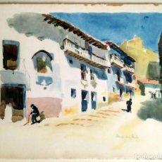 Art: 1926 MORELLA - CASTELLÓN - CALLE PUERTA HERMANOS GALLIEN - ACUARELA - VERNON HOWE BAILEY. Lote 191459572