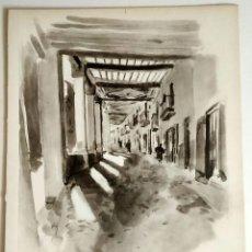 Art: 1926 MORELLA - CASTELLÓN - ARCADAS DE LA CALLE DEL MERCADO - ACUARELA - VERNON HOWE BAILEY. Lote 191459703