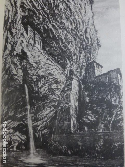 COVADONGA ASTURIAS VISTA LITOGRAFIA POR ARTISTA VIAJERO INGLES BONE 13,5 X 22 CMTS (Arte - Litografías)