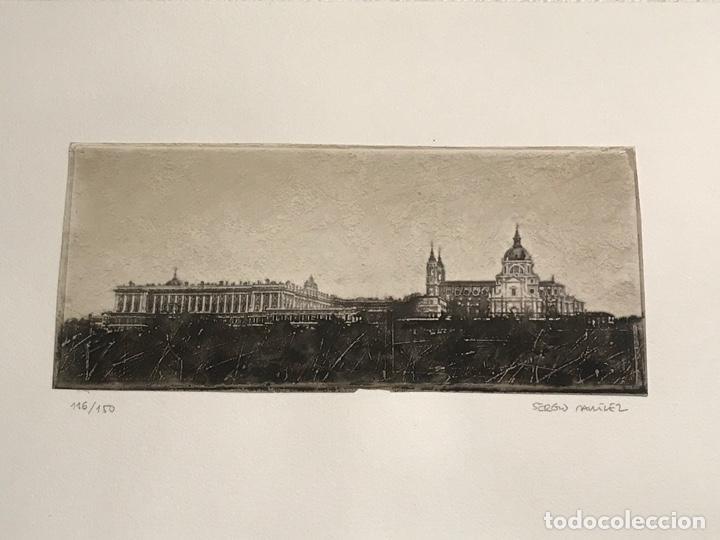 LITOGRAFÍA DE SERGIO MARTÍNEZ MONASTERIO DEL ESCORIAL MADRID FIRMADA Y NUMERADA A LÁPIZ. 116/150. (Arte - Litografías)