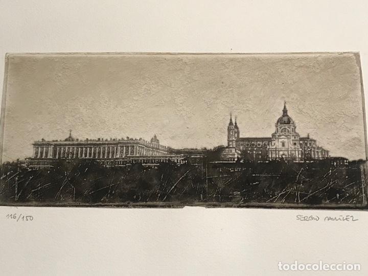 Arte: LITOGRAFÍA DE SERGIO MARTÍNEZ MONASTERIO DEL ESCORIAL MADRID FIRMADA Y NUMERADA A LÁPIZ. 116/150. - Foto 2 - 191627968