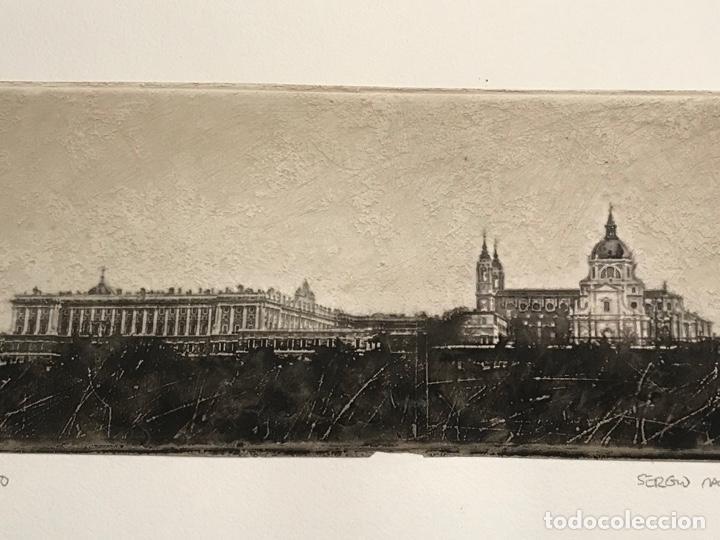 Arte: LITOGRAFÍA DE SERGIO MARTÍNEZ MONASTERIO DEL ESCORIAL MADRID FIRMADA Y NUMERADA A LÁPIZ. 116/150. - Foto 3 - 191627968