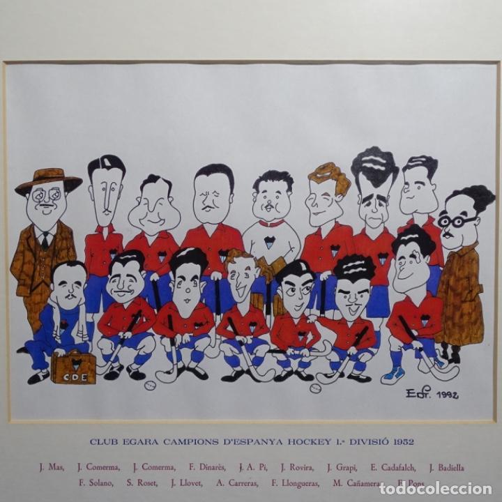 CARICATURA LITOGRÁFICA DE EDI 1992.EQUIPO DEL CLUB EGARA GANADOR DEL CAMPEONATO DE HOCKEY 1952. (Arte - Litografías)