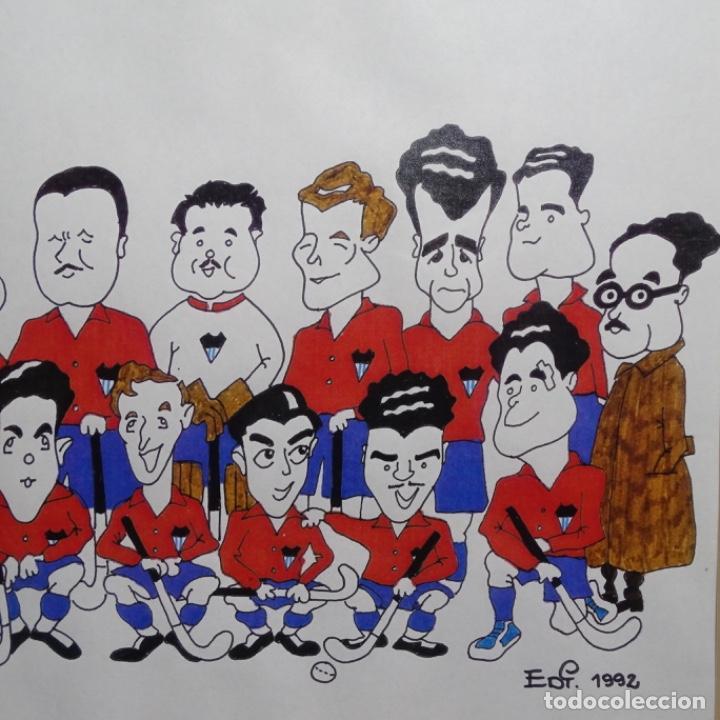 Arte: Caricatura litográfica de edi 1992.equipo del club egara ganador del campeonato de hockey 1952. - Foto 3 - 191743386