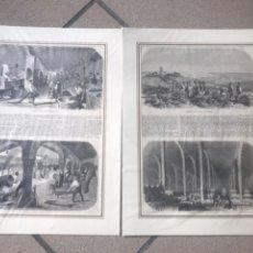 Arte: FABRICACIÓN DEL VINO DE JEREZ. 2 PLANCHAS CON 4 XILOGRAFÍAS.. CON PASPARTÚ. 40X30 CM. 1850. Lote 192442910