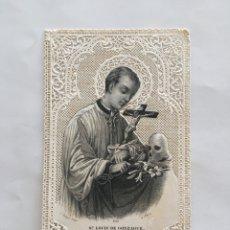 Arte: ESTAMPA RELIGIOSA. LITOGRAFÍA Y CALADA. SAN LUIS GONZAGA. L. TURGIS. EDITR. PARÍS.. Lote 192871185