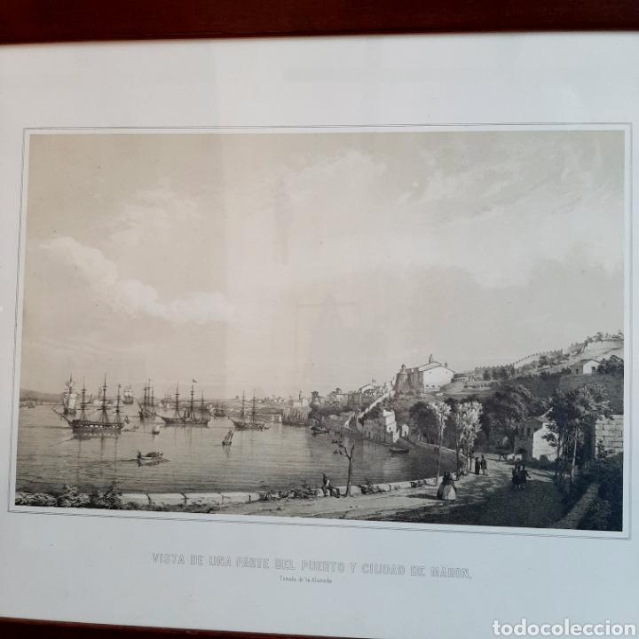 Arte: Vista de una parte del Puerto y Ciudad de Mahon / Menorca / 45cm x 35cm - Foto 2 - 193169662