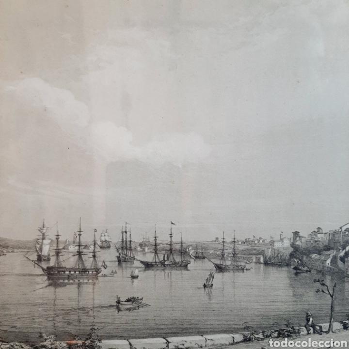 Arte: Vista de una parte del Puerto y Ciudad de Mahon / Menorca / 45cm x 35cm - Foto 3 - 193169662