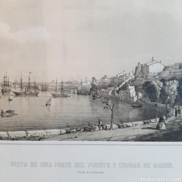 Arte: Vista de una parte del Puerto y Ciudad de Mahon / Menorca / 45cm x 35cm - Foto 5 - 193169662