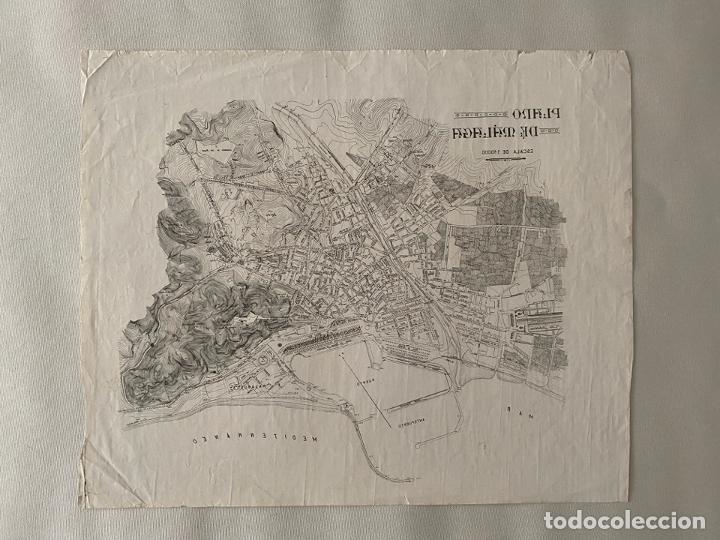 ESCUELA DE ARTES Y OFICIOS DE MALAGA , LITOGRAFÍA , PLANO DE MALAGA PARA ESTAMPAR (Arte - Litografías)