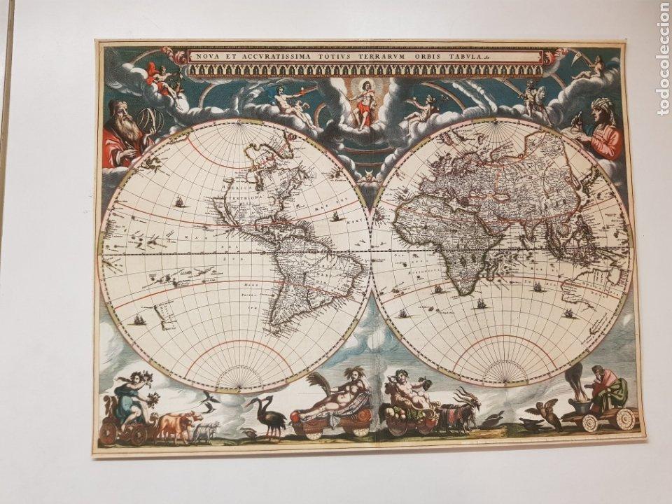 JAN BLAEU : MAPA MUNDI 1664. LITOGRAFIA LEGAL CON MATRICULA LEGAL DEL EDITOR (Arte - Litografías)