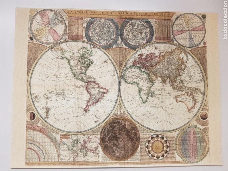MAPA MUNDI 1794. LITOGRAFIA ORIGINAL CON MATRICULA LEGAL DEL EDITOR (Arte - Litografías)