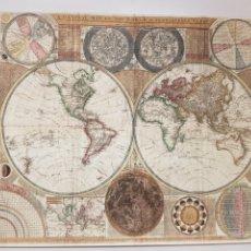 Arte: MAPA MUNDI 1794. LITOGRAFIA ORIGINAL CON MATRICULA LEGAL DEL EDITOR. Lote 194530635