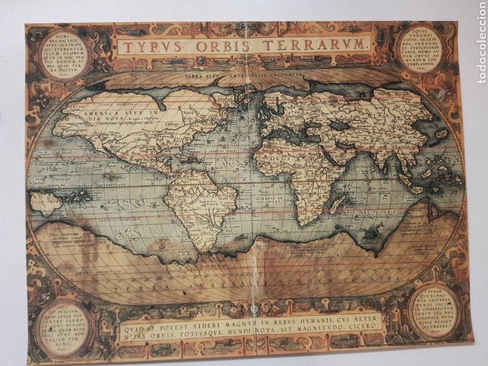 ABRAHAM ORTELIUS : MAPA MUNDI 1567. LITOGRAFIA ORIGINAL CON MATRICULA LEGAL DEL EDITOR (Arte - Litografías)
